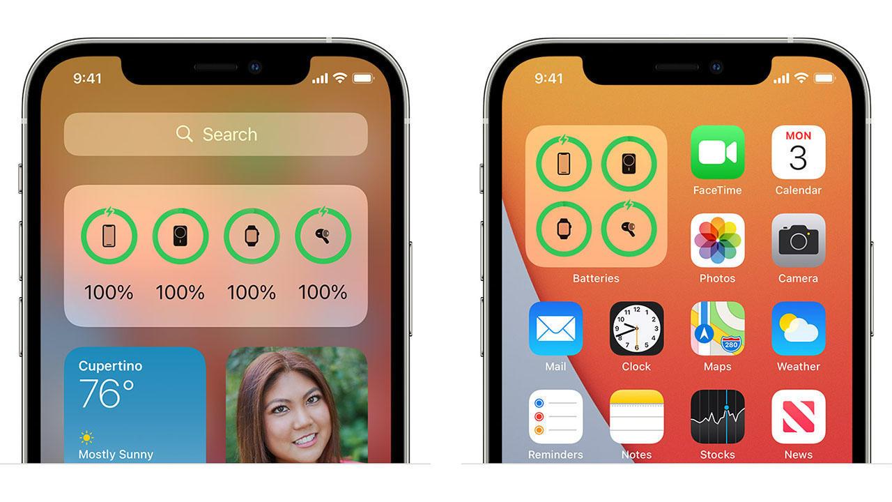 iOS Battery widget on Apple iPhone