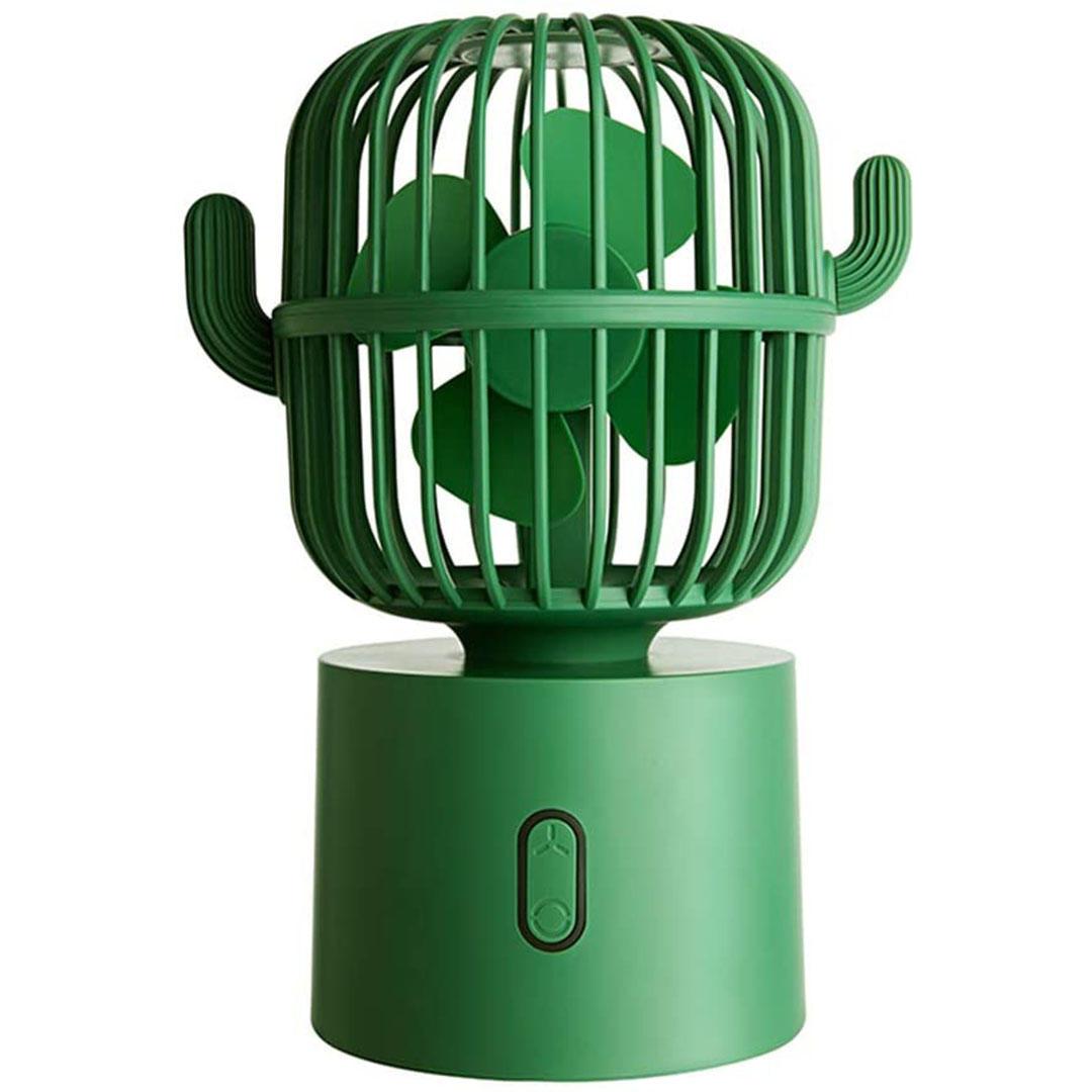 Ventilateur personnel Petit ventilateur de table de travail, mini table de cactus à main Ventilateur portable rechargeable avec rotation automatique de 80 degrés