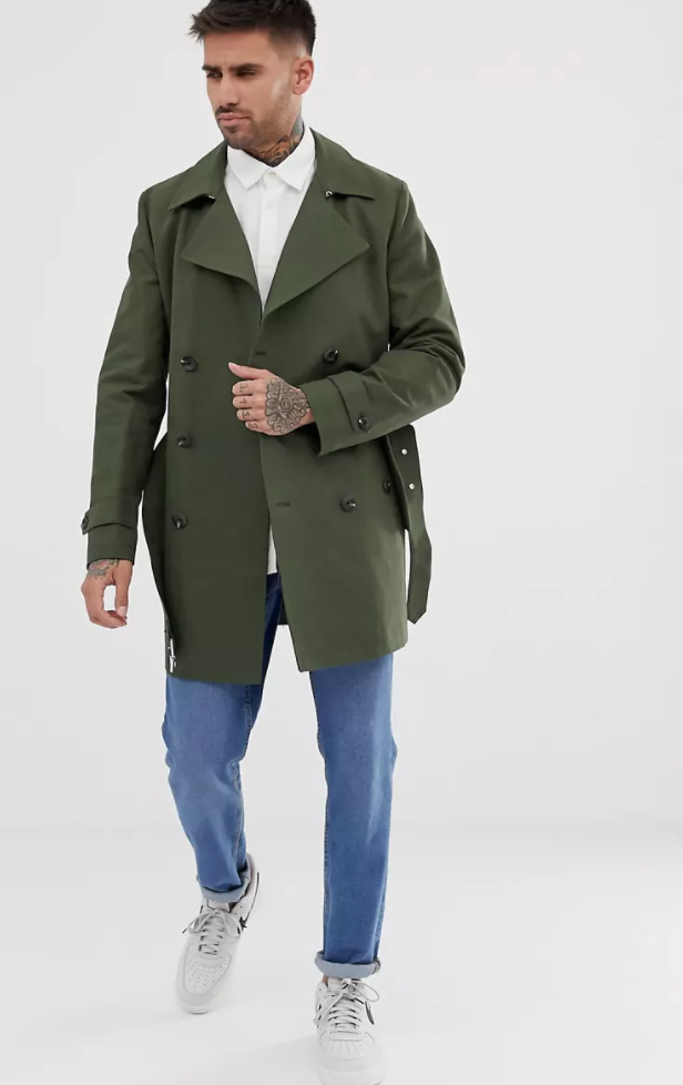 Rain-resistant double-breasted trench coat