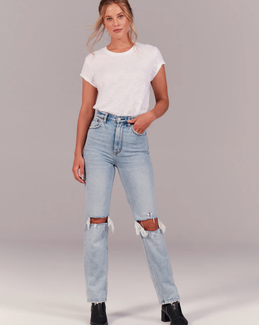 90's ultra high rise straight jeans in light ripped wash