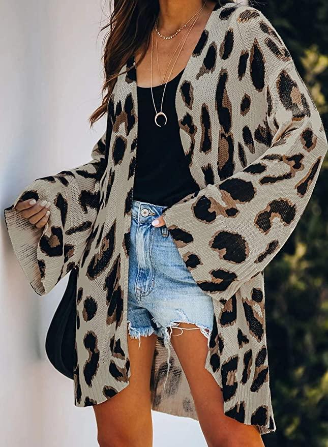 Bell sleeve cheetah print longline cardigan