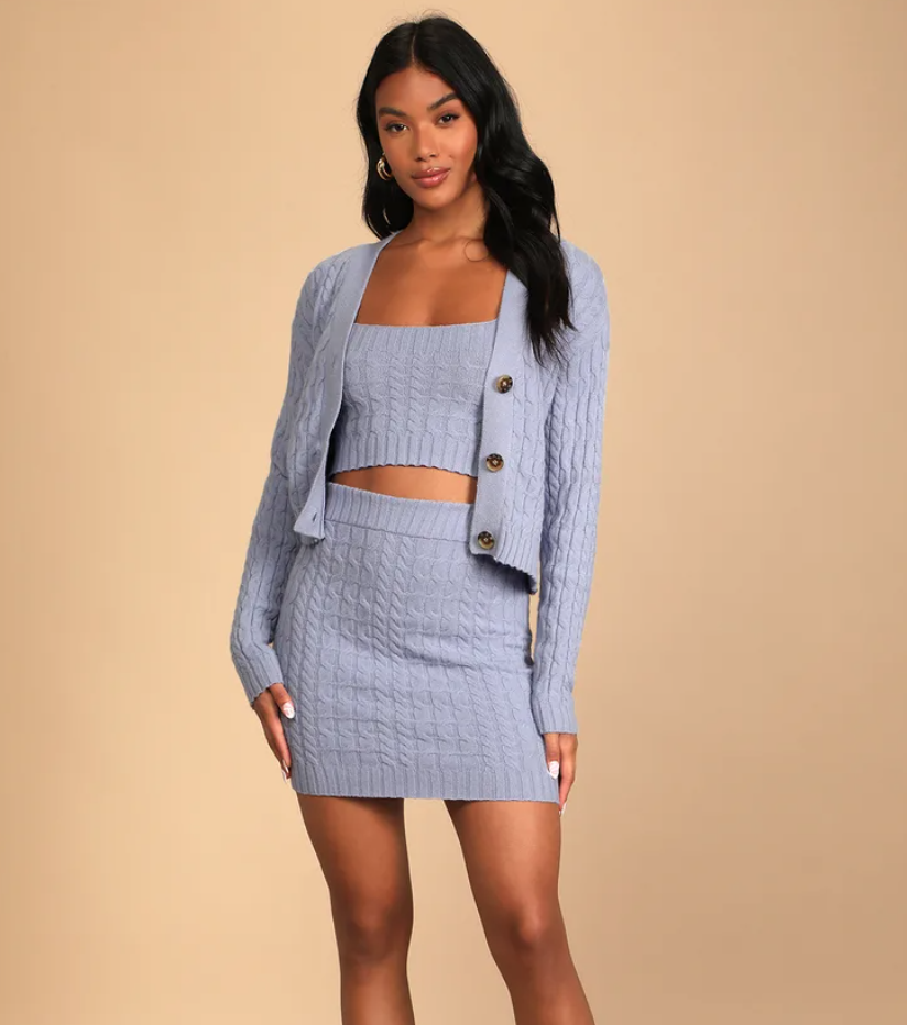 Lulus Undeniably Perfect three-piece knit sweater dress set