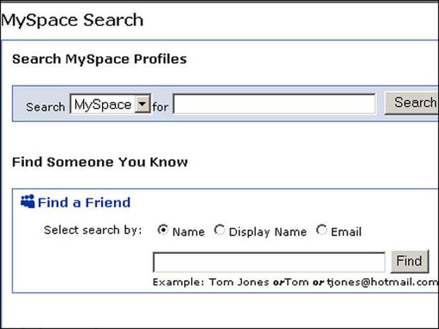 to find a friend on myspace