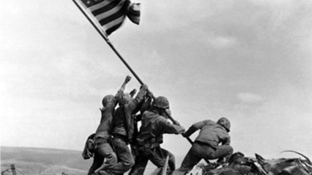 US Marines raise American flag on Mount Suribachi, Iwo Jima