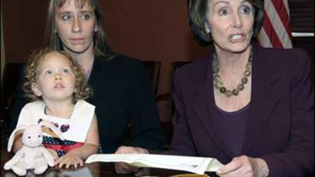 House Speaker Nancy Pelosi, right, meets with Dara Wilkerson and her daughter Bethany, 2, of Tampa, Fla., on Capitol Hill, Oct. 17, 2007.