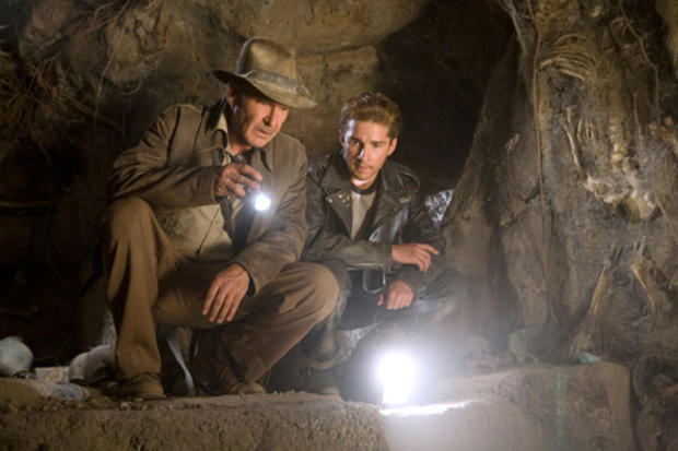 """This photo released by Paramount Pictures shows actors, from left, Harrison Ford as Indiana Jones, and Shia LaBeouf in a scene from """"Indiana Jones and the Kingdom of the Crystal Skull."""""""