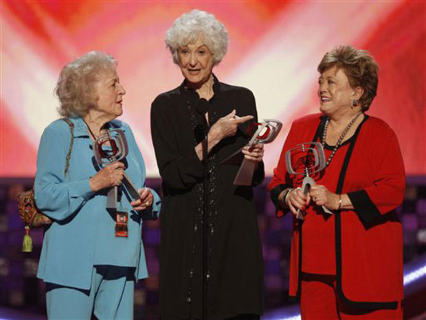 The cast of the Golden Girls accepts the pop culture award at the TV Land Awards on Sunday June 8, 2008 in Santa Monica, Calif. From left are: Betty White, Beatrice Arthur, and Rue McClanahan.