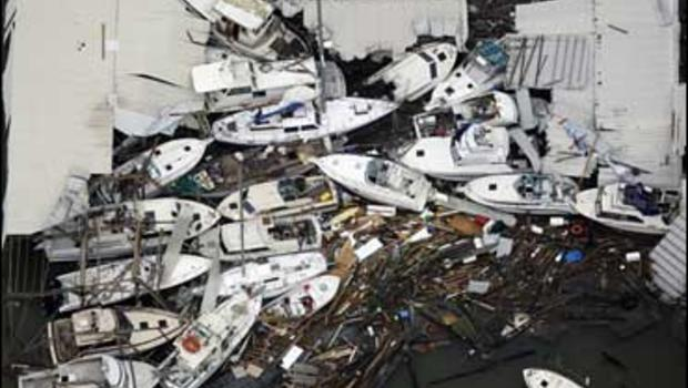 Boats and debris are piled up in Galveston after Hurricane Ike