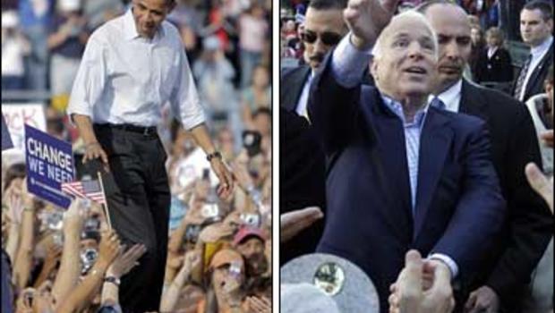 Sen. Barack Obama and Sen. John McCain at rallies in Nevada and Virginia
