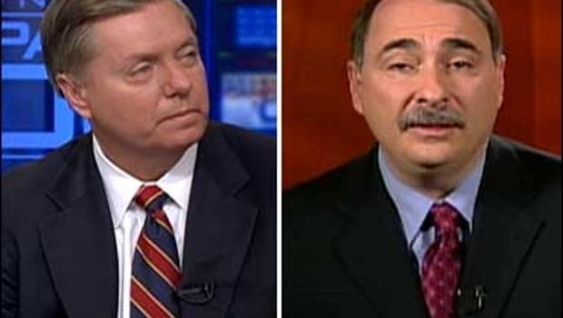 "Sen. Lindsey Graham, R-S.C., and David Axelrod, chief strategist for the Obama campaign, on ""Face The Nation."""