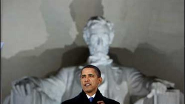 President-elect Barack Obama speaks at the Lincoln Memorial