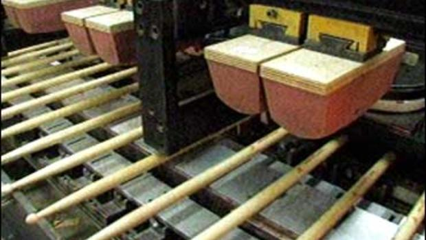 Vic Firth's factory in Maine turns out 85,000 to 90,000 drumsticks a day.