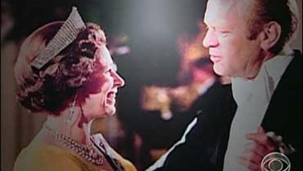 Gerald Ford dancing with the Queen of England