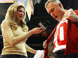 ESPN reporter Erin Andrews, left, and Ohio State football coach Jim Tressel, Jan. 27, 2007