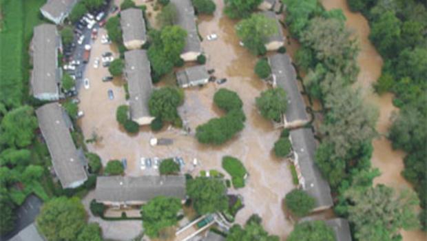 Peachtree Park in Atlanta under water.