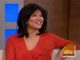 "Julie Chen's first appearance on ""The Early Show"" since the birth of her baby, Charlie, six weeks ago."