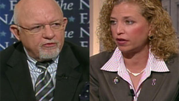 """Republican political consultant Ed Rollins and Rep. Debbie Wasserman Schultz, D-Fla., on """"Face the Nation,"""" November 8, 2009."""