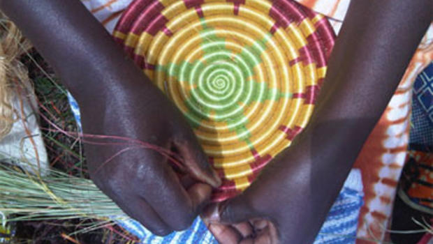 Basket weaving in Rwanda.