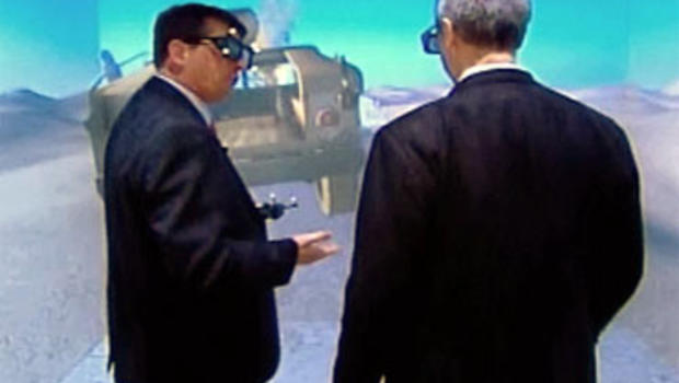 CBS News national security correspondent David Martin takes part in a 3D military training exercise.