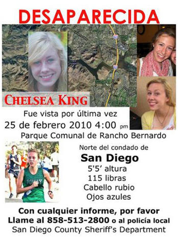 Chelsea King, Missing Teen