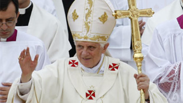 Pope Benedict XVI arrives to celebrate a Mass in Floriana, Malta, Sunday, April 18, 2010.