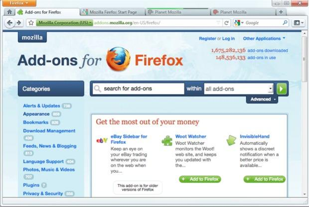 Mozilla's Firefox 4 design shows tabs above the address bar and a home-page button replaced by a home tab.