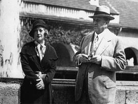 American newspaper publisher William Randolph Hearst is shown with Marion Davies in Bad Nauheim, Germany on Aug. 13, 1931.