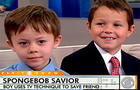 Five-year-old Andrew Gentile, left, was saved from drowing by his 8-year-old neighbor, Reese Ronceray, right.