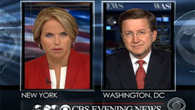 """""""CBS Evening News"""" Anchor Katie Couric asks CBS News Correspondent Bob Orr a viewer question about the Russian spy case July 8, 2010."""