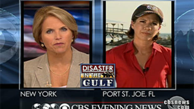 """""""CBS Evening News"""" Anchor Katie Couric asks CBS News Correspondent Kelly Cobiella a viewer question about the Gulf oil spill July 9, 2010."""