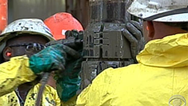 BP workers work around the clock to drill two relief wells for the blownout wellhead gushing oil into the Gulf of Mexico.