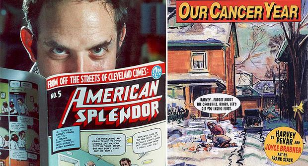 """Left: Harvey Pekar with his American Splendor graphic novel.  Right: """"Our Cancer Year."""" (AP Photo/Mark Duncan/Harvey Pekar)"""