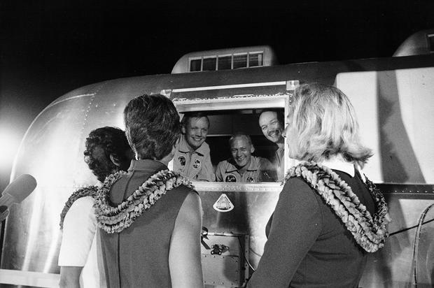 Wives Greet the Astronauts Upon Their Arrival at Ellington Air Force