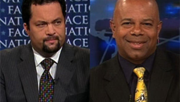 """NAACP President Benjamin Jealous, and David Webb, Co-Founder, Tea Party 365, on """"Face the Nation,"""" Sunday, July 18, 2010."""