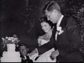 John F. Kennedy and Jacqueline Bouvier at their Sept. 12, 1953, wedding in Newport, R.I. (AP Graphicsbank)
