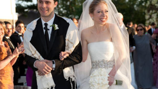 Chelsea Clinton and Marc Mezvinsky following their wedding ceremony. Chelsea Clinton was married to Marc Mezvinsky at Astor Court in Rhinebeck, NY on July 31, 2010.
