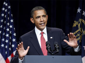 President Barack Obama speaks at a Democratic National Committee (DNC) fundraising event in Atlanta, Monday, Aug. 2, 2010.