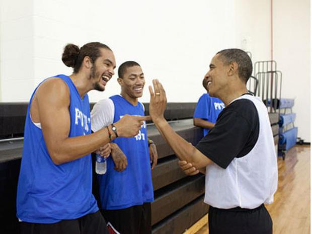 Barack Obama, Joakim Noah, Derrick Rose
