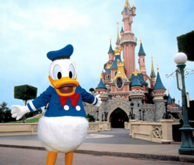 Donald duck gropes womans breast