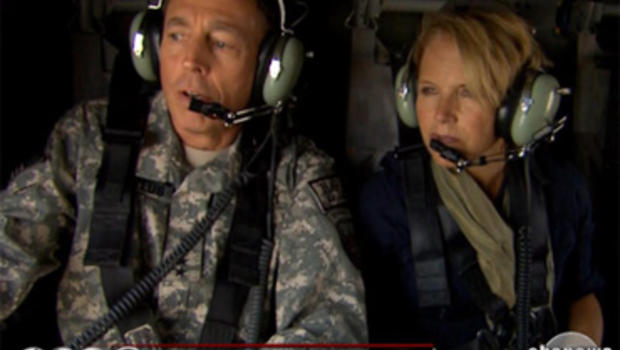 General David Petraeus, commander of U.S. and NATO forces in Afghanistan, gives and aerial tour of the battlefield to CBS Evening News Anchor Katie Couric, August 19, 2010.