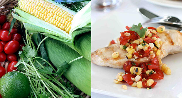 """Grilled chicken with smoky corn and tomato salsa by food blogger Dara Michalski, the """"Cookin' Canuck."""""""