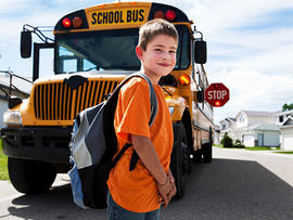 boy, school bus