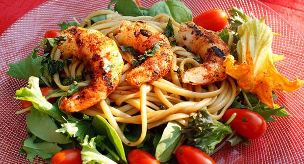 Grilled shrimp and pasta salad by Dennis Littley.