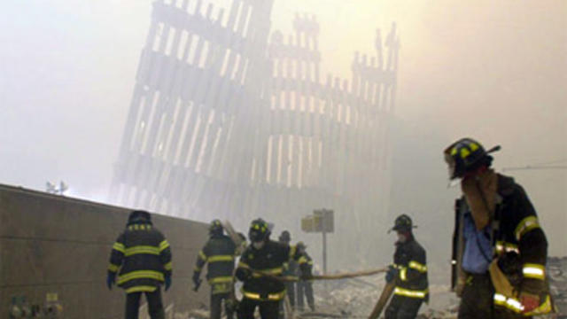 Firefighters search rubble of collapsed World Trade Center