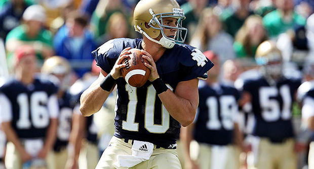 Notre Dame quarterback Dayne Crist plays against the Purdue Boilermakers Sept. 4, 2010 in South Bend, Indiana.