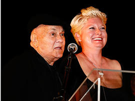 PARIS - APRIL 26: Tony Curtis and his wife Jill talk on stage for the Jules Verne Adventure Film Festival at the Grand Rex on April 26, 2008 in Paris, France. Julien M. Hekimian/Getty Images)