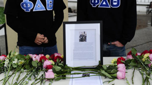 Students pay their respects on October 01, 2010 to first-year student Tyler Clementi, 18, who killed himself shortly after being filmed and broadcast over the Internet during a gay encounter, at Rutgers Univeristy in New Brunswick, New Jersey.