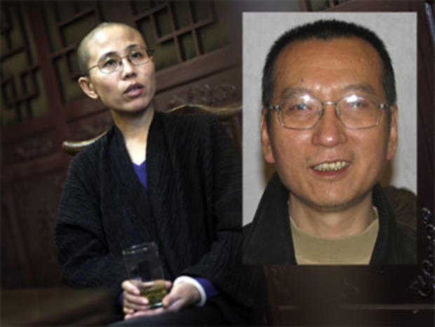 Liu Xia, left, the wife of jailed Chinese dissident and 2010 Nobel Peace Prize winner Liu Xiaobo, during an interview in Beijing, Sept. 29, 2010. The two were able to meet as the Nobel laureate told his wife to dedicate the award to victims of the 1989 Tiananmen Square crackdown.