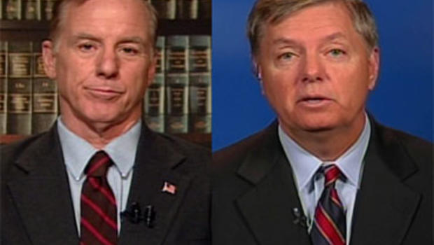 """Former Democratic National Committee chairman Howard Dean, left, said the Democrats will keep the House and the Senate after the upcoming midterm elections, but Sen. Lindsey Graham (R-SC) told """"Face the Nation"""" that President Barack Obama will soon have t"""