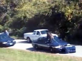 Chimpanzee vs. Police Car? 300-Pound Chimp Attacks Police Car